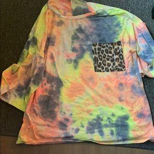 Tie Dye Shirt with Animal print pocket- 3XL